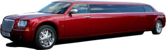 Chauffeur driven candy apple red Chrysler 300 stretched limousine